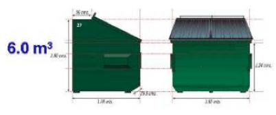Contenedor metálico de 6 m3 con doble tapa